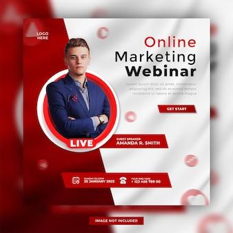 Marketing numérique en ligne webinaire en direct médias sociaux conception de modèle de publication promotionnelle