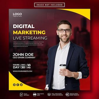 Marketing numérique en streaming en direct sur les médias sociaux et modèle de bannière web