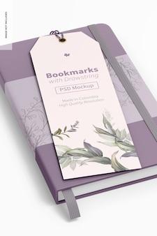 Marque-page avec cordon et maquette de livre