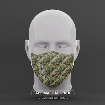 Masque facial maquette vue de face mannequin homme
