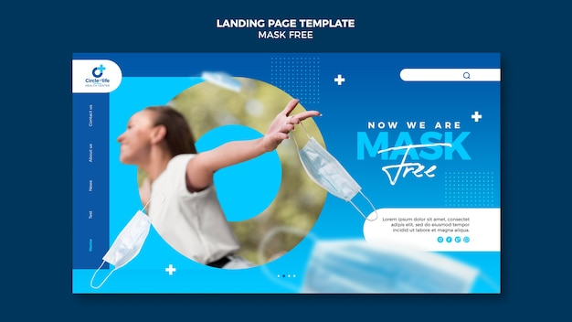 Masque modèle de page de destination gratuit