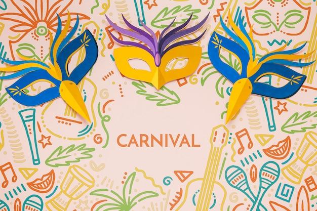 Masques de carnaval brésilien colorés