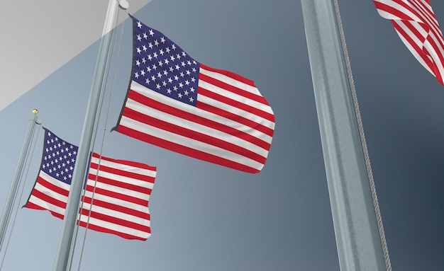Mât de drapeau avec drapeau des états-unis