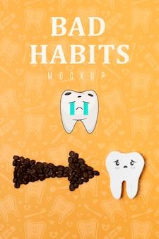 Mauvaises habitudes maux de dents avec maquette