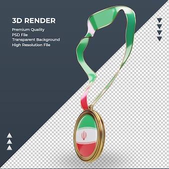 Médaille 3d drapeau iran rendu vue de droite