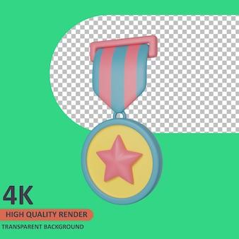 Médaille 3d vétéran icône illustration rendu de haute qualité