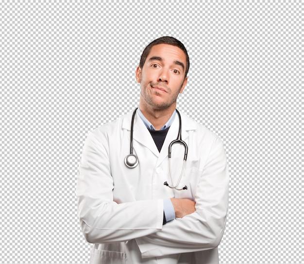 Médecin déprimé sur fond blanc