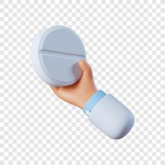 Médecin main tenant une pilule blanche