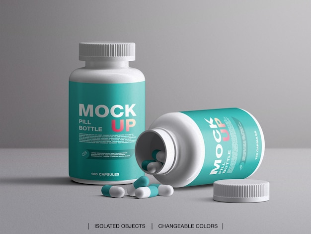 Médecine santé branding vitamines pilule maquette de bouteille en plastique avec capsules isolées