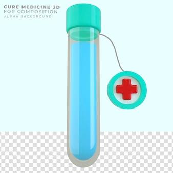 Médecine de tube de cure de rendu 3d