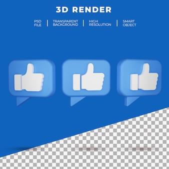 Les médias sociaux 3d comme le rendu de l'icône du bouton