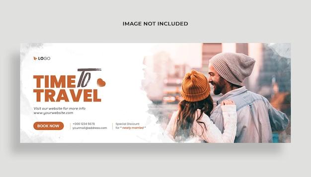 Médias sociaux d'agence de voyages et modèle de bannière de couverture facebook premium psd