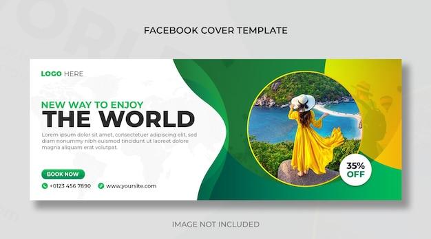 Les médias sociaux des agences de voyages et de voyages publient une bannière horizontale ou un modèle de couverture facebook