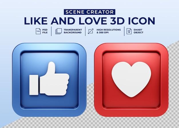 Les médias sociaux aiment et aiment l'icône du bouton 3d minimaliste pour le créateur de scène