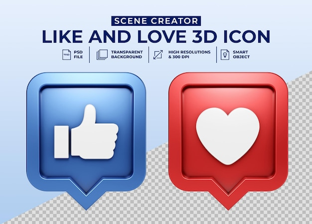 Les médias sociaux aiment et aiment l'insigne d'icône de bouton 3d minimaliste