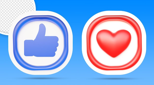Les médias sociaux aiment et aiment le rendu du bouton 3d isolé