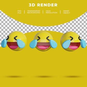 Les médias sociaux emoji 3d font face joyeux à pleurer en riant le rendu