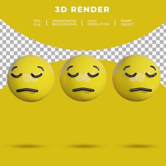 Les médias sociaux emoji 3d font face à la mauvaise humeur ou au rendu plat