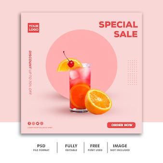 Médias sociaux post instagram modèle de bannière nourriture boisson vente spéciale rose