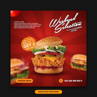 Médias sociaux poster bannière alimentaire modèle spécial menu burger