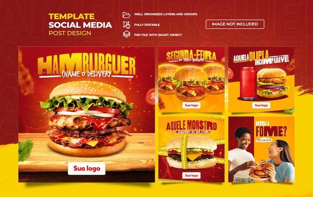 Médias sociaux pour les hamburgers et la restauration rapide dans des couleurs jaunes et rouges vibrantes dans le modèle brésilien portugais