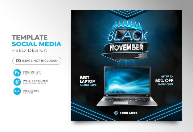 Les médias sociaux publient la conception de modèle de rendu 3d vendredi noir pour la campagne de marketing novembre noir