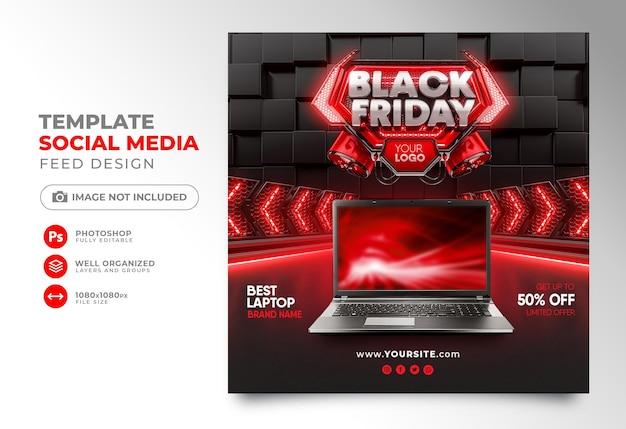 Les médias sociaux publient le rendu 3d du vendredi noir pour instagram avec de super offres et promotions