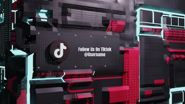 Les médias sociaux de tiktok nous suivent avec le futur fond de mur de technologie néon 3d