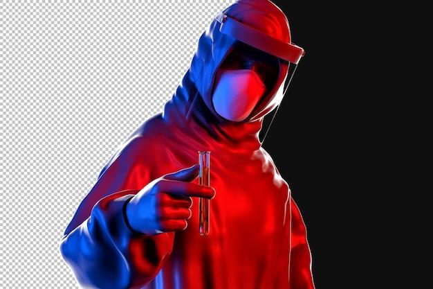 Medic en tenue de protection détient tube à essai dans le rendu 3d
