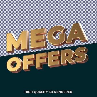 Mega offre un style de texte isolé rendu en 3d avec une texture métallique dorée réaliste