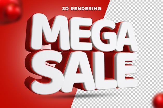 Mega sale rendu 3d composition de texte alpha background psd