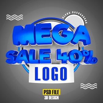 Méga vente bleue 40 conception de rendu 3d