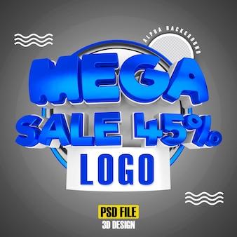 Méga vente bleue 45 conception de rendu 3d