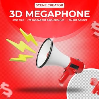 Mégaphone 3d pour le rendu 3d du créateur de scène isolé