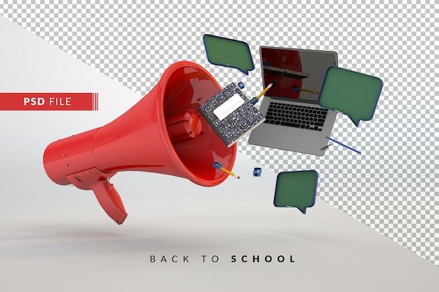 Mégaphone et accessoires rouges de nouveau à l'école un concept 3d pour des étudiants