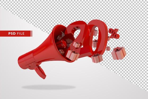 Mégaphone rouge avec numéro 20 pour cent
