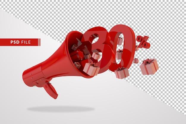 Mégaphone rouge avec numéro 30 pour cent