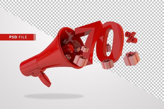 Mégaphone rouge avec numéro 70 pour cent