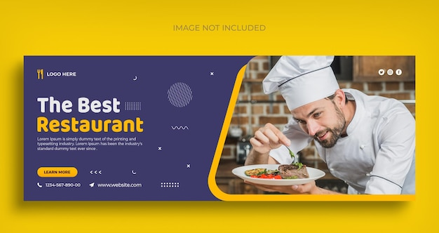 Meilleur dépliant de bannière web de médias sociaux de restaurant et modèle de conception de photo de couverture facebook