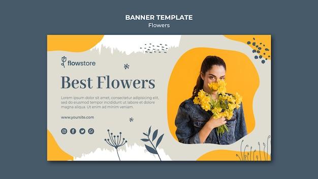 Meilleur magasin de fleurs et bannière de jolie femme d'affaires