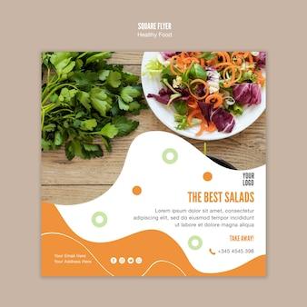 Meilleur modèle de flyer carré de salade et de persil
