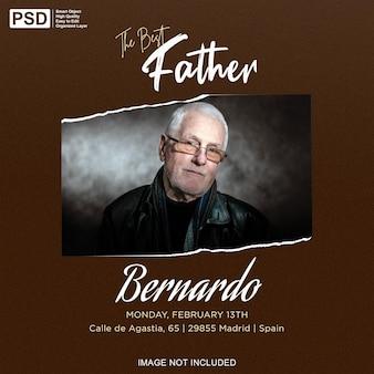 Le meilleur père avec une maquette de cadre photo en papier déchiré