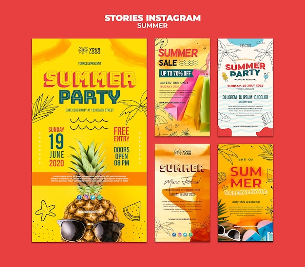 Meilleures histoires instagram de fête d'été