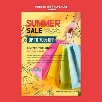 Meilleures ventes d'été avec affiche de sacs à provisions