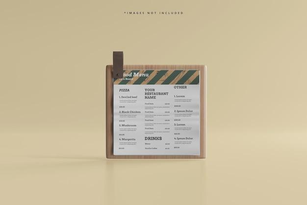 Menu alimentaire carré sur une maquette de planche de bois