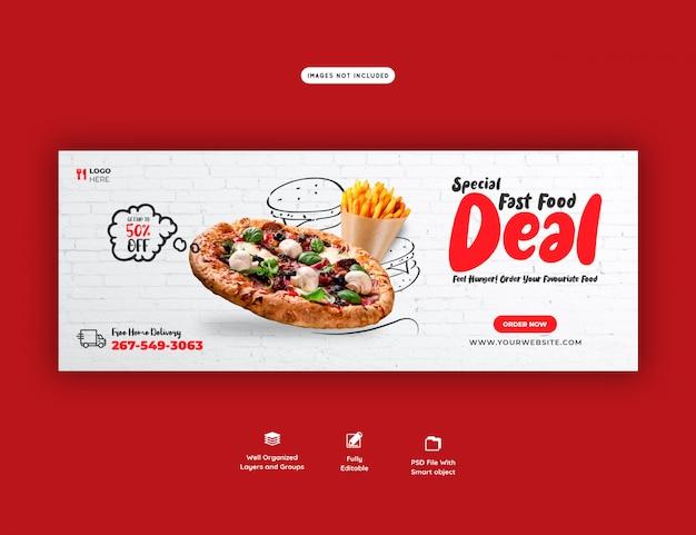 Menu alimentaire et délicieux modèle de bannière de couverture facebook pizza