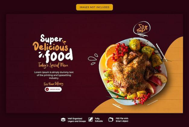 Menu alimentaire et modèle de bannière web restaurant