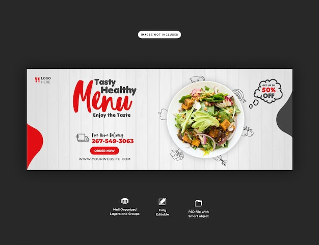 Menu alimentaire et modèle de couverture facebook restaurant