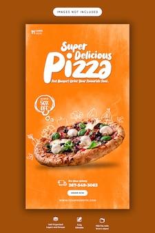 Menu alimentaire et modèle d'histoire instagram de délicieuses pizzas