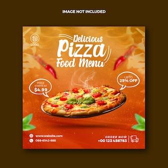 Menu alimentaire pizza restaurant publication sur les médias sociaux pour instagram et bannière web publicitaire squire